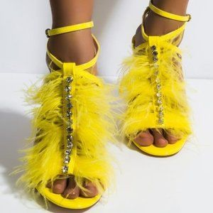 Yellow Feathered Sandal with patent leather base,